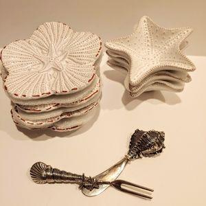 Starfish dip cup bowl Plates Seashell Spreader 9pc